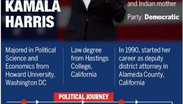 Biden picks Indian origin Kamala Harris as vice-presidential leader